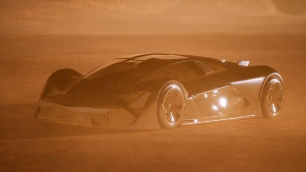 szuperautó naplementekor a sivatagban