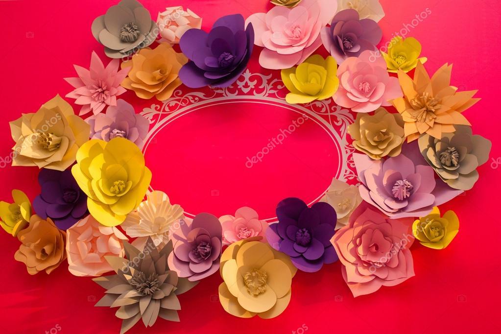 Vintage Papierblumen. Rosa, blauen, gelbe und weißen Blumen Papier ...