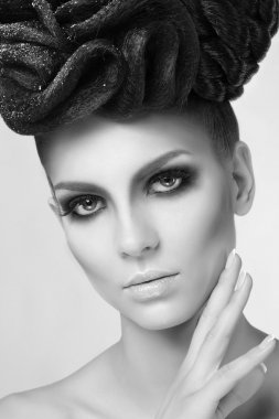Fashion Model Girl With Trendy Make up.