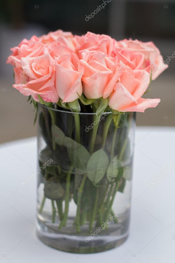 Beautiful Flowers In Vase Bouquet Of Pink Roses In A Glass Vase