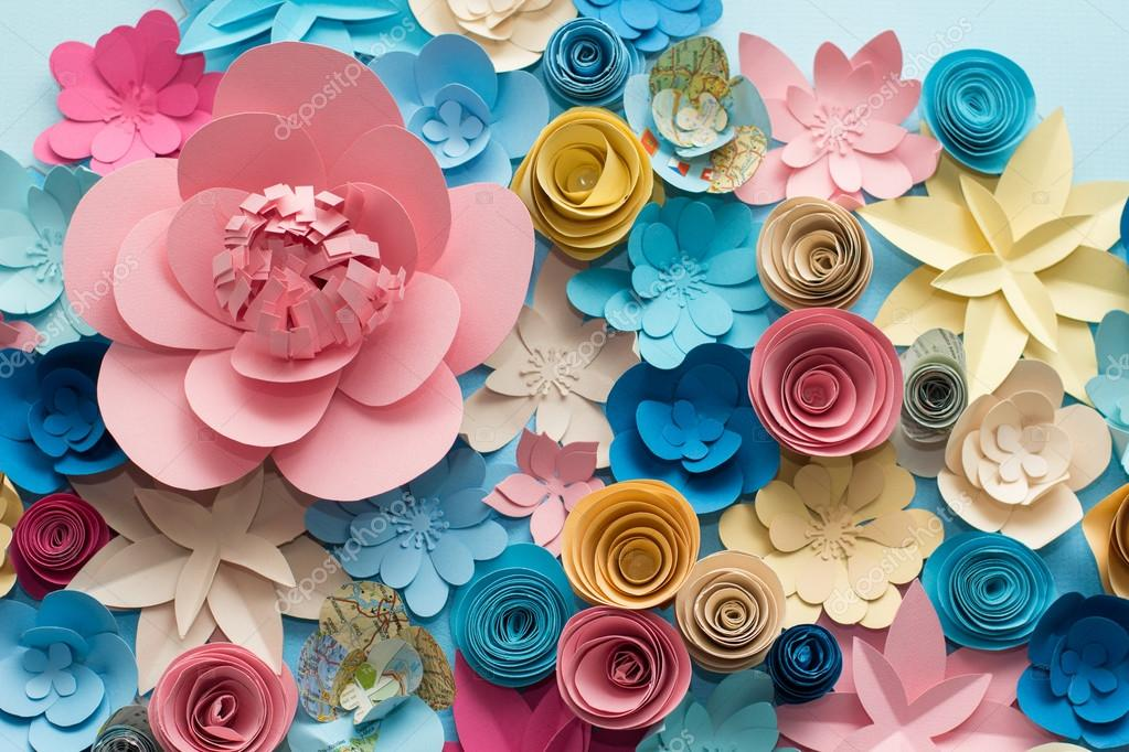 Vintage Paper Flowers Pink Blue Yellow And White Background Pattern Lovely