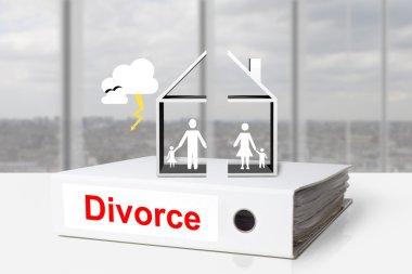office binder house divided divorce family thunderstorm
