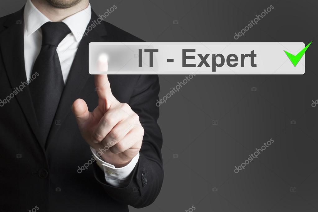 businessman pushing button it expert