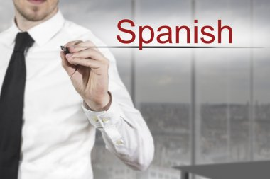 businessman writing spanish in the air