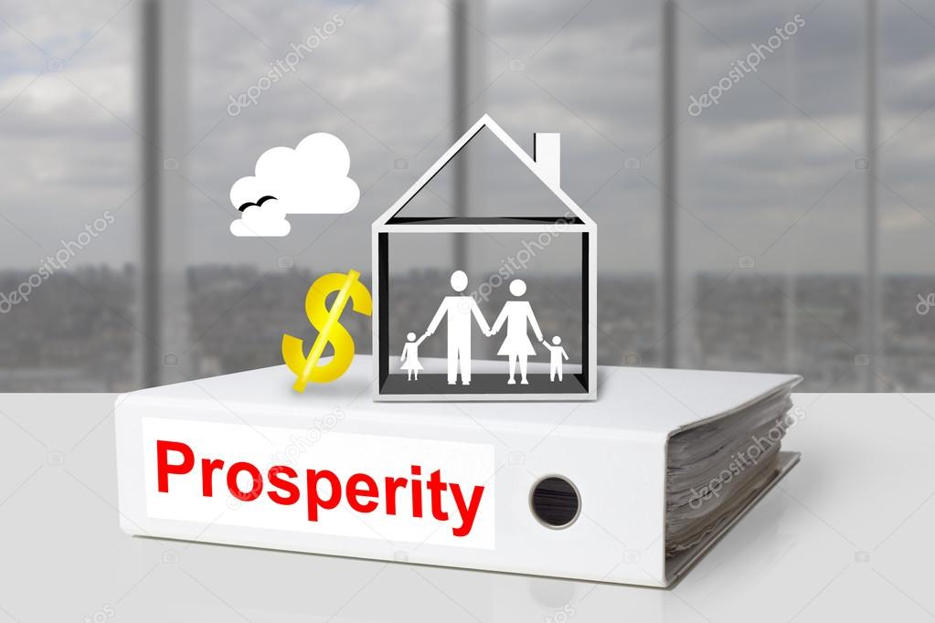 Office Binder Prosperity House Family Dollar Symbol Stock Photo