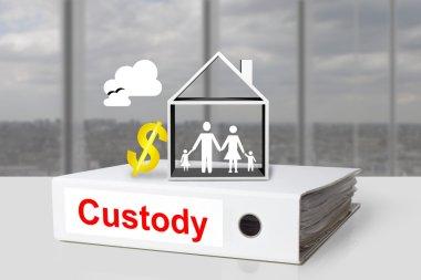 office binder custody family house dollar symbol