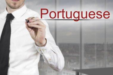 businessman writing in the air portuguese