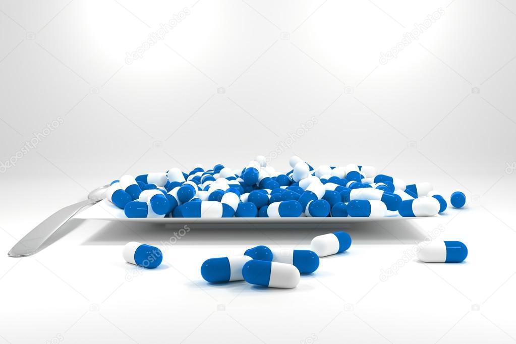 Pastillas azules y blancas para bajar de peso | gran pila
