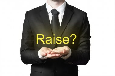 businessman in black suit begging gesture raise