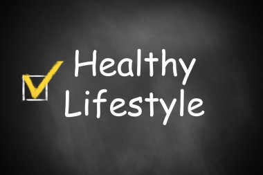 checkbox marked healthy lifestyle on chalkboard