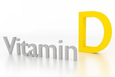 vitamin d 3d illustration on white surface