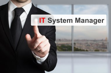 businessman pushing touchscreen button it system manager