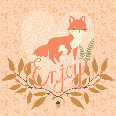 Cute cartoon baby fox with branches with leaves and acorn with floral lace heart on floral pastel background. can be used like greeting card for holidays