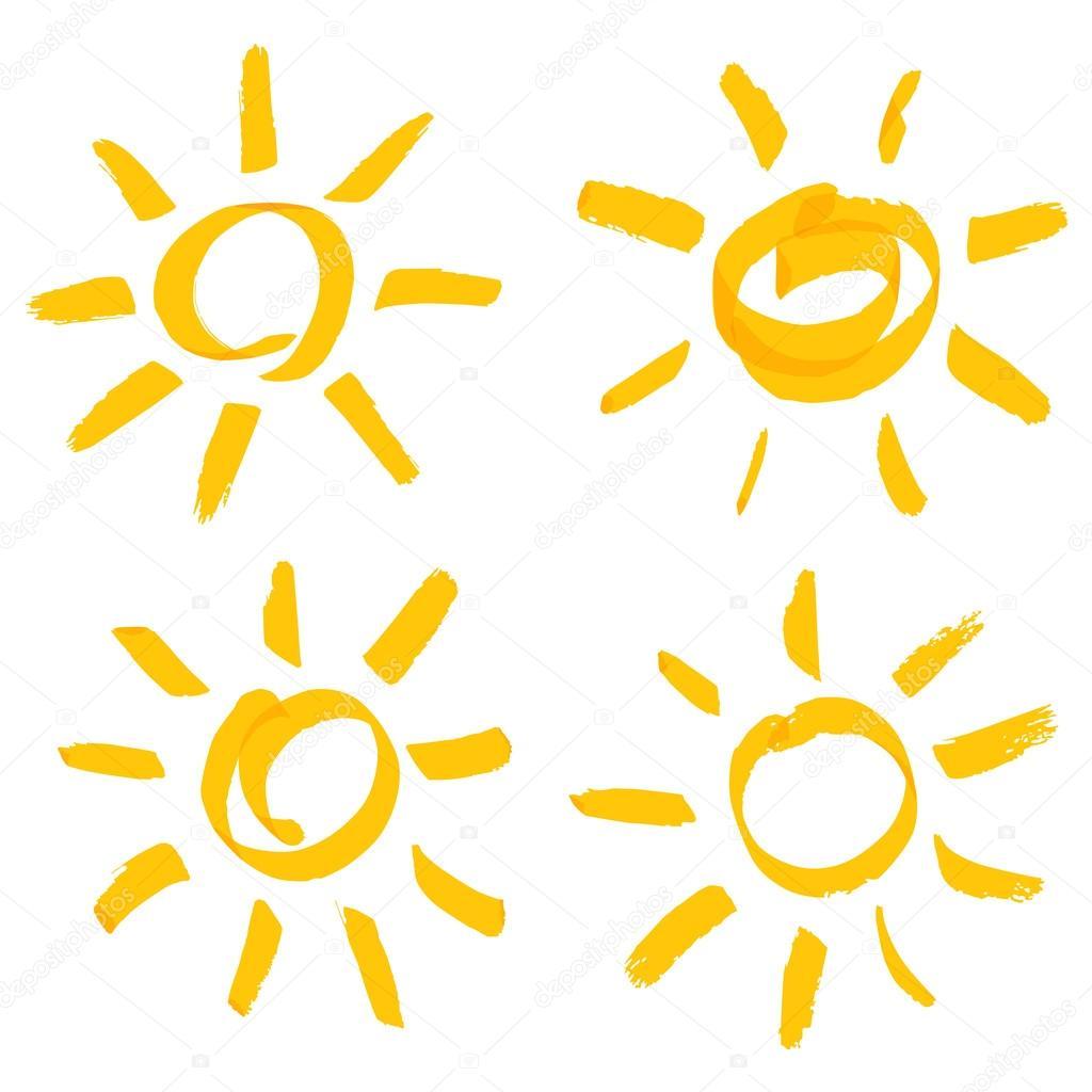 vector handwritten sun set