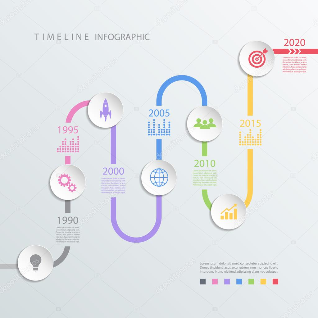 road timeline infographic design template with color icons vector illustration for workflow layout diagram