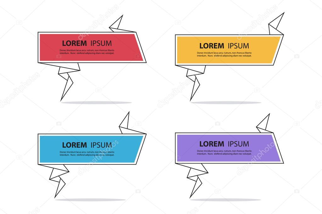 Abstrakte Papier Sprechblasen Vorlagen Origami Angebotsvorlage