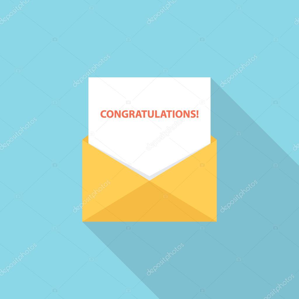 gefeliciteerd brief Gefeliciteerd brief, e mail of bericht. Groet brief — Stockvector  gefeliciteerd brief