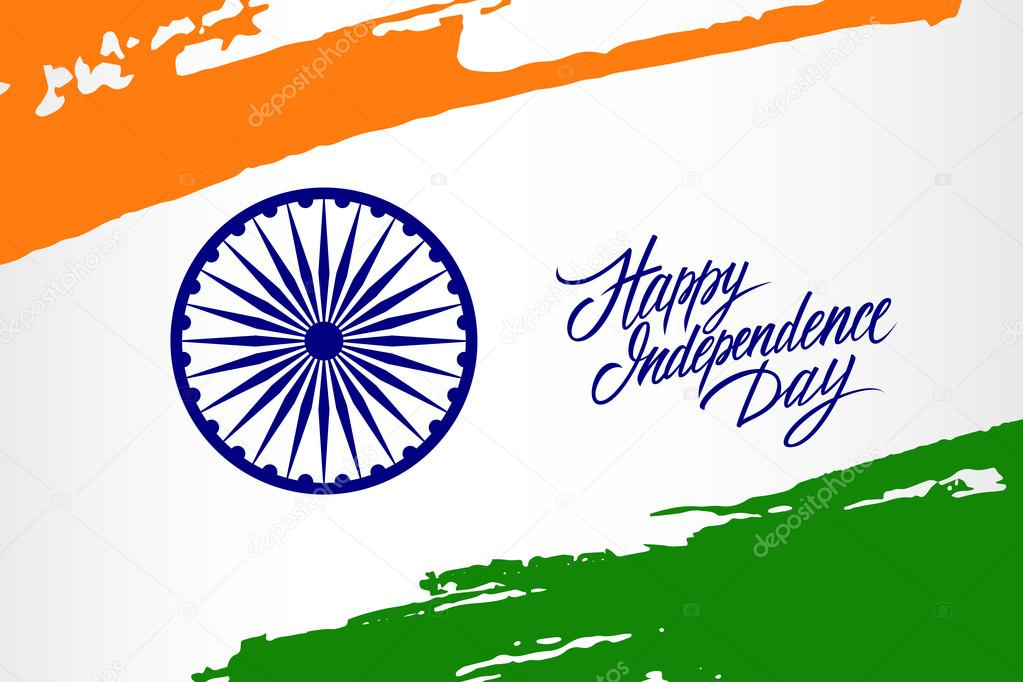 Indian independence day greeting card with ashoka wheel and brush indian independence day greeting card with ashoka wheel and brush strokes in national flag colors m4hsunfo