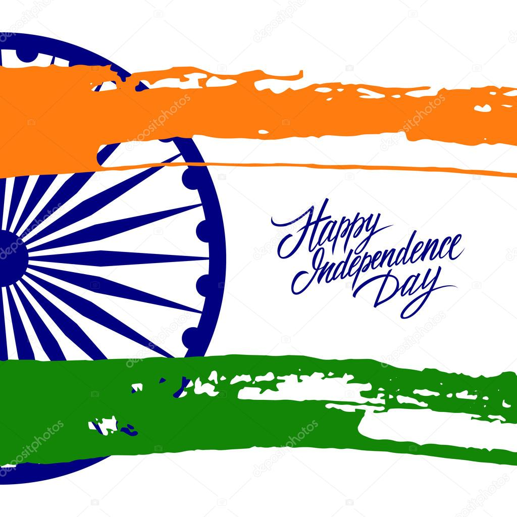Indian happy independence day greeting card with ashoka wheel and indian happy independence day greeting card with ashoka wheel and brush strokes in national flag colors m4hsunfo