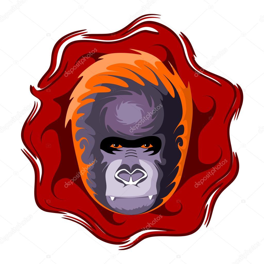 comprar popular 1302a 20ac8 Cabeza de gorila. Ilustración de vector de color. — Archivo ...