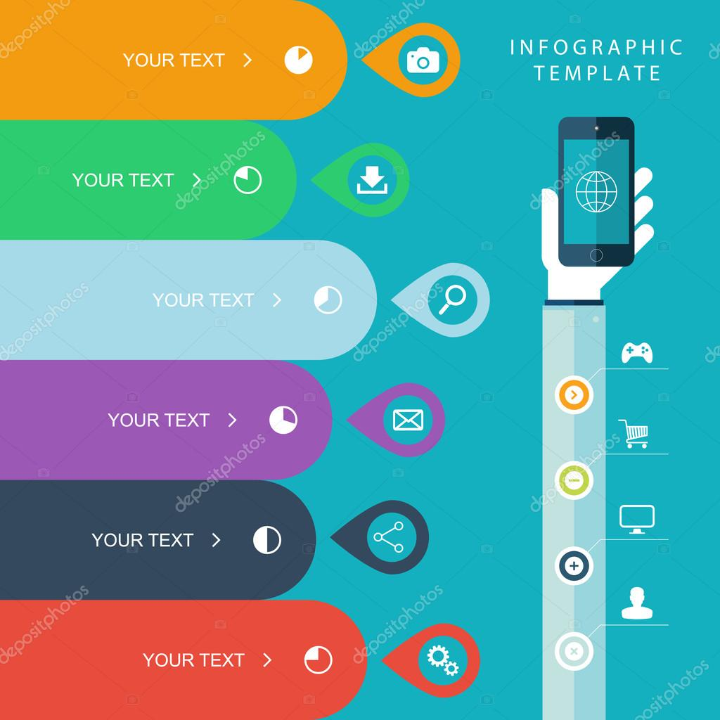 Info graphic template with hand holding phones for marketing plan ...