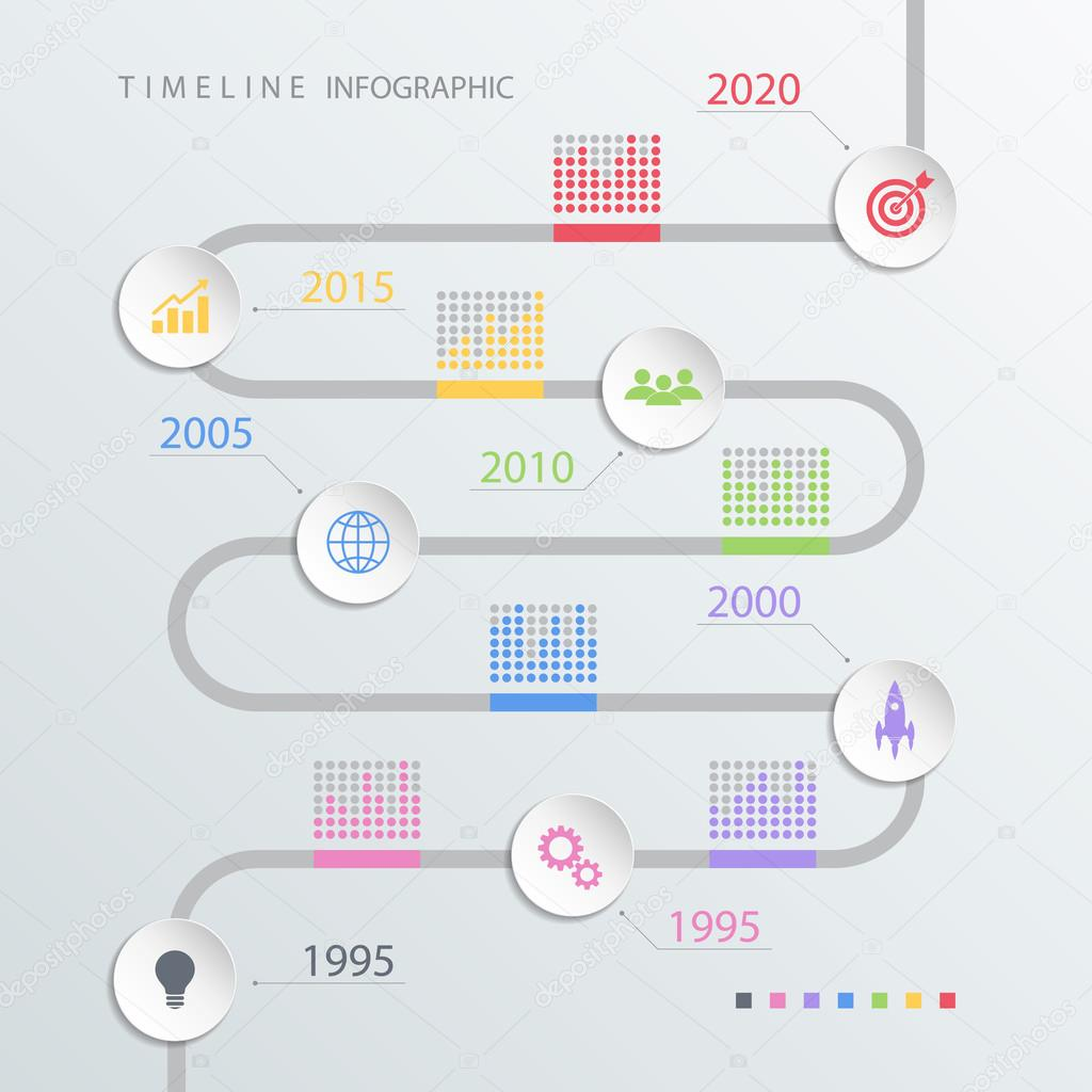 road timeline infographic design template with color icons vector illustration stock vector