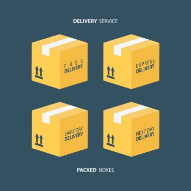 Boxes icons set. Packed boxes. Carton package box icons. Free delivery, express delivery, same day delivery, next day delivery.