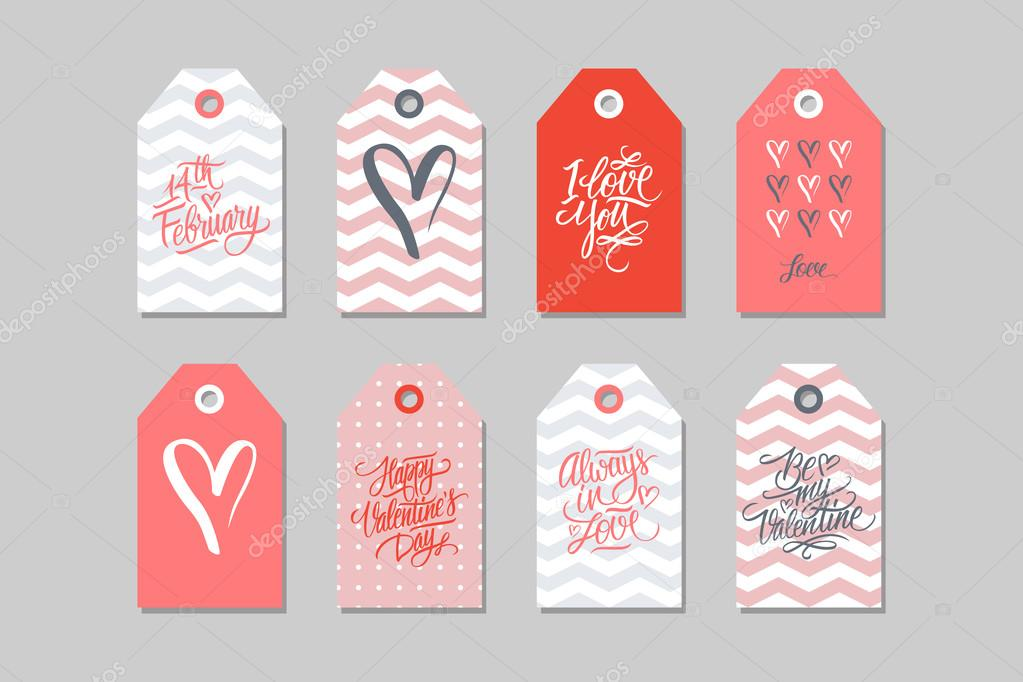 Collection Of Happy Valentines Day Gift Tags Set Of Hand Drawn