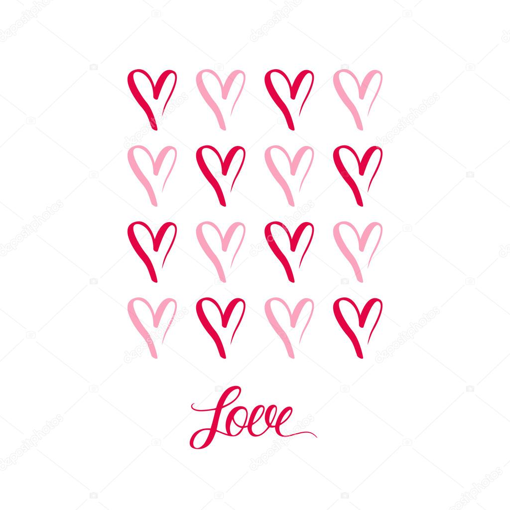 Hand Drawn Hearts Symbols With Inscription Love Stock Vector