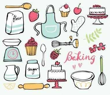 Baking kitchen icons