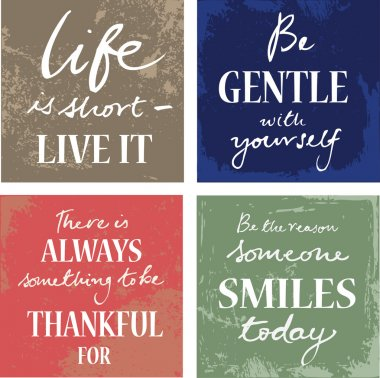 4 hand written inspirational typographic words quotes on grunge background stock vector