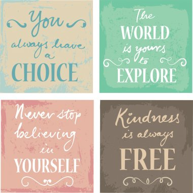 Set Of 4 Typographic Motivational Inspirational Quotes on grunge backgrounds calligraphic element stock vector