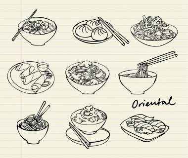 Asian food doodle set