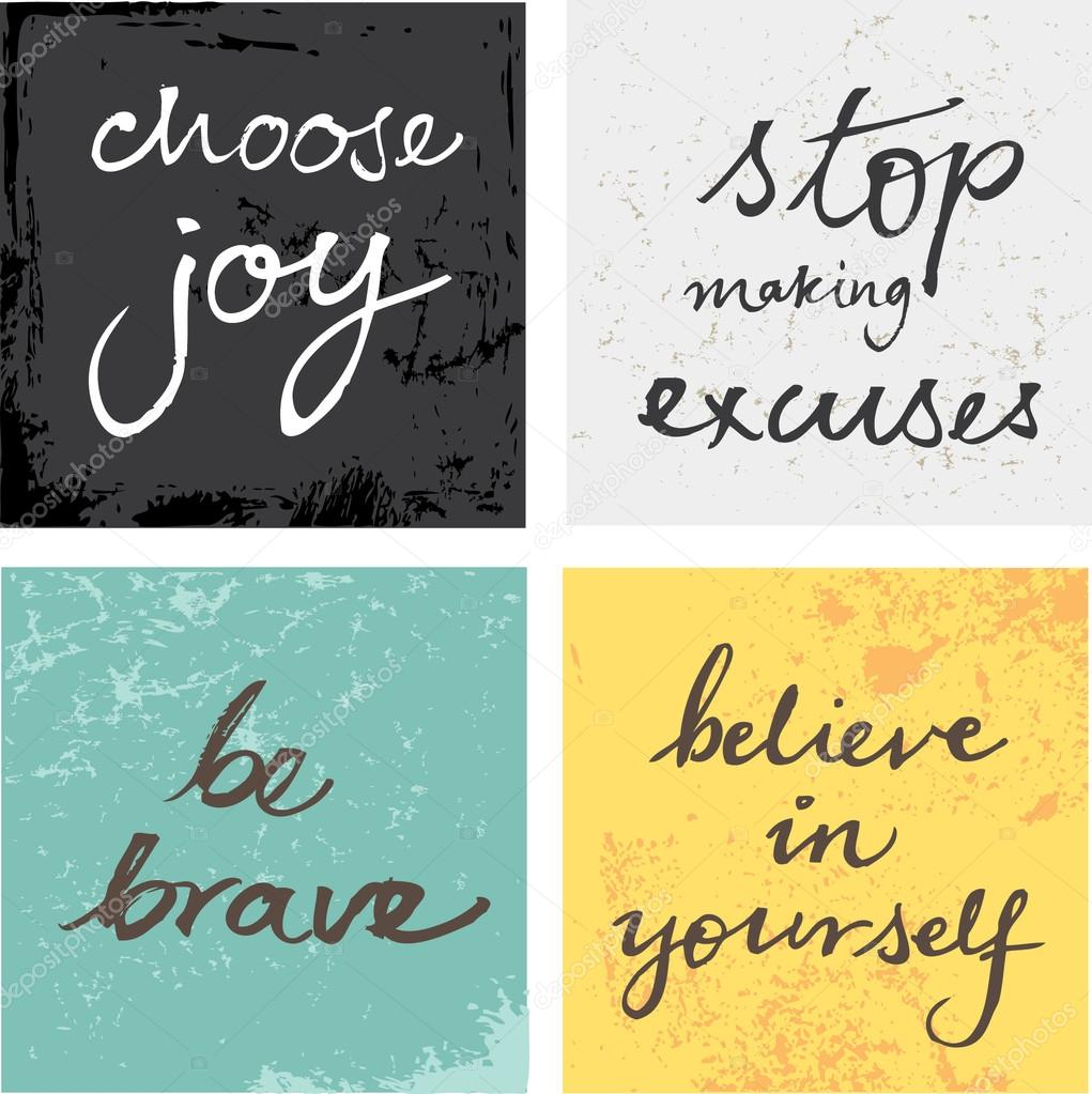 4 hand written inspirational typographic words quotes on grunge background vector by omw