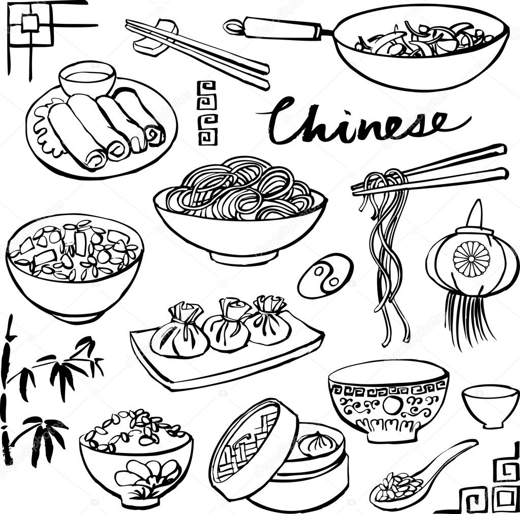 sketch of asian food coloring coloring pages Coloring Chinese Cooking  Chinese Food Coloring