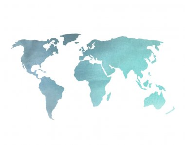 World Map in Blue Watercolor