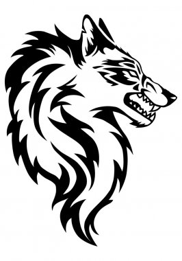 wolf tattoo in isolated white background
