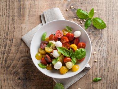 Italian Caprese salad with cherry tomatoes and mini mozzarella, selective focus stock vector