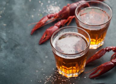 Glass of beer and lobster