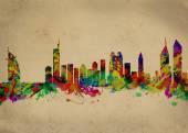Fotografia sagoma skyline di Dubai città