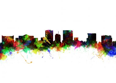 Watercolor Skyline of El Paso