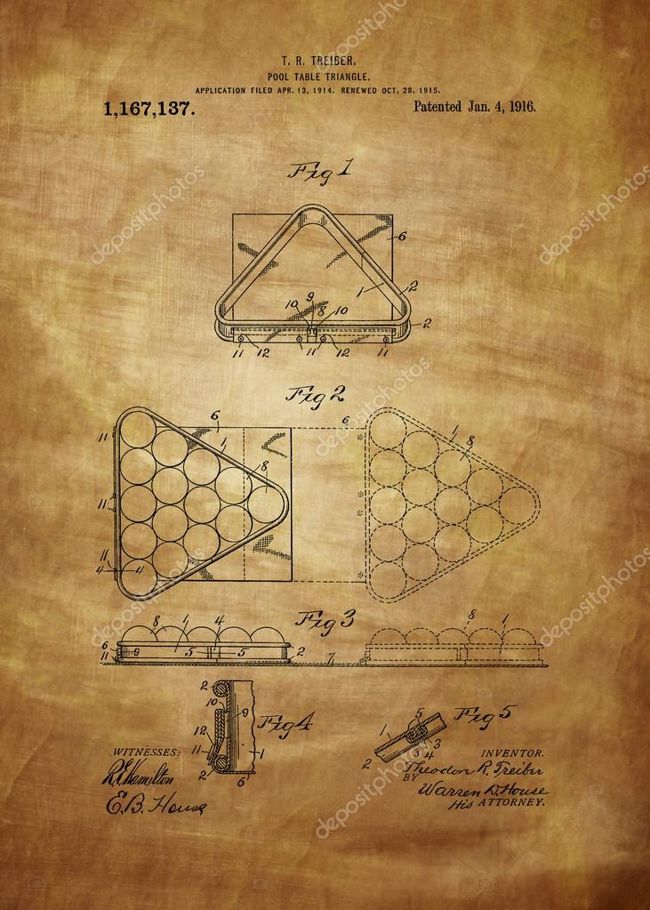 Pool table triangle patent from 1915 — Stock Photo ... on tv schematics, pool tool ball ghost, pool hole sizes, whirlpool schematics, computer schematics, elevator schematics, pinball schematics, pool drawing, stereo schematics, air hockey schematics,