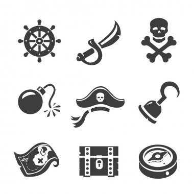 Pirate Icons  Skull and chest, pirates treasure map, pirates hat and sword.