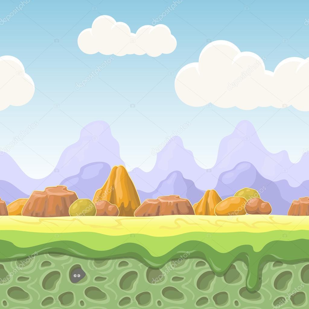 漫画の童話風景。石ゲーム デザインのためのシームレスなイラスト。横国