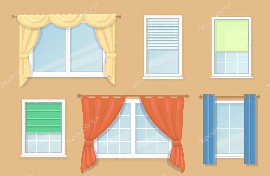 Ilustracin de opciones de diseo y tipos de cortinas de ventanas