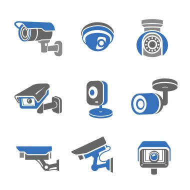 Video surveillance security cameras  pictograms and icons