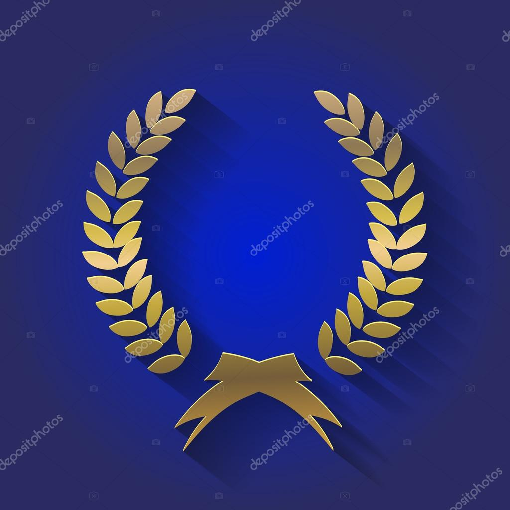 Gold Award Wreaths Laurel Victory And Triumph Symbol Stock Photo