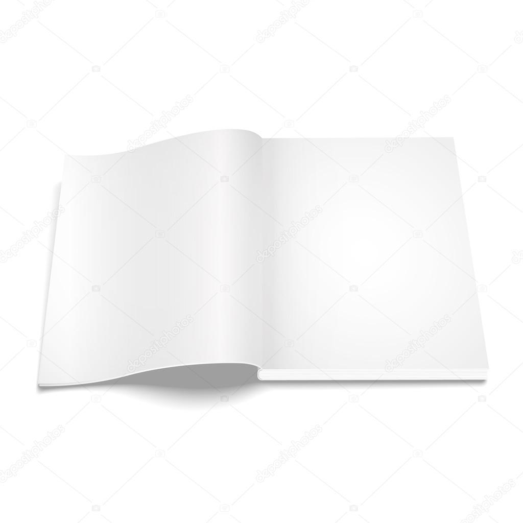 Leere eröffneten Magazin Vorlage auf weißem Hintergrund — Stockfoto ...