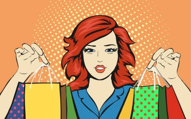 Shopping Woman with a sale bag discounts pop art retro style.