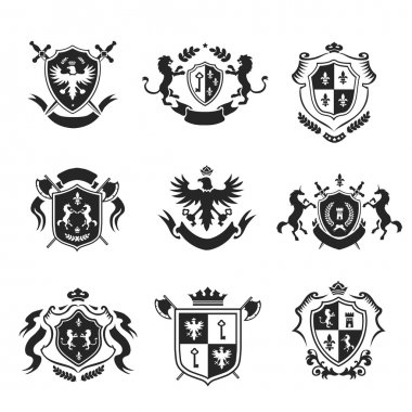 Heraldic coat of arms decorative emblems black set